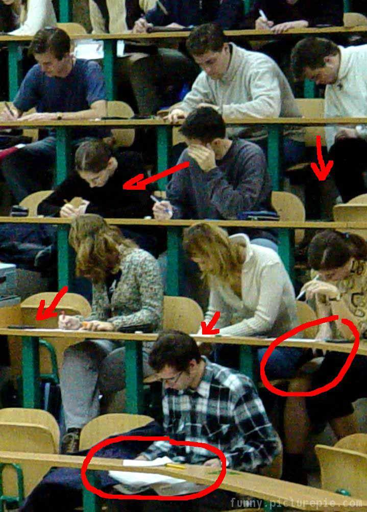students cheat off each other on a test (funny)